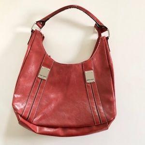 Nine West Brick Red Zip Up Shoulder Bag